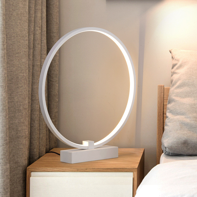 Desk Lamps Nordic Minimalist Creative Bedroom Bedside Led Table Light Concise Study Bedside Office Circular Ring Dimmable Decoration Lamp Without Return