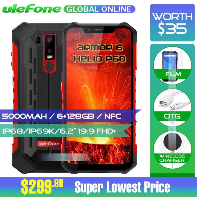 "Ulefone Armor 6 IP68 Waterproof Mobile Phone Helio P60 6GB+128GB 6.2"" 19:9 FHD+ 5000mAh Android 8.1 Smartphone NFC Face Unlock"