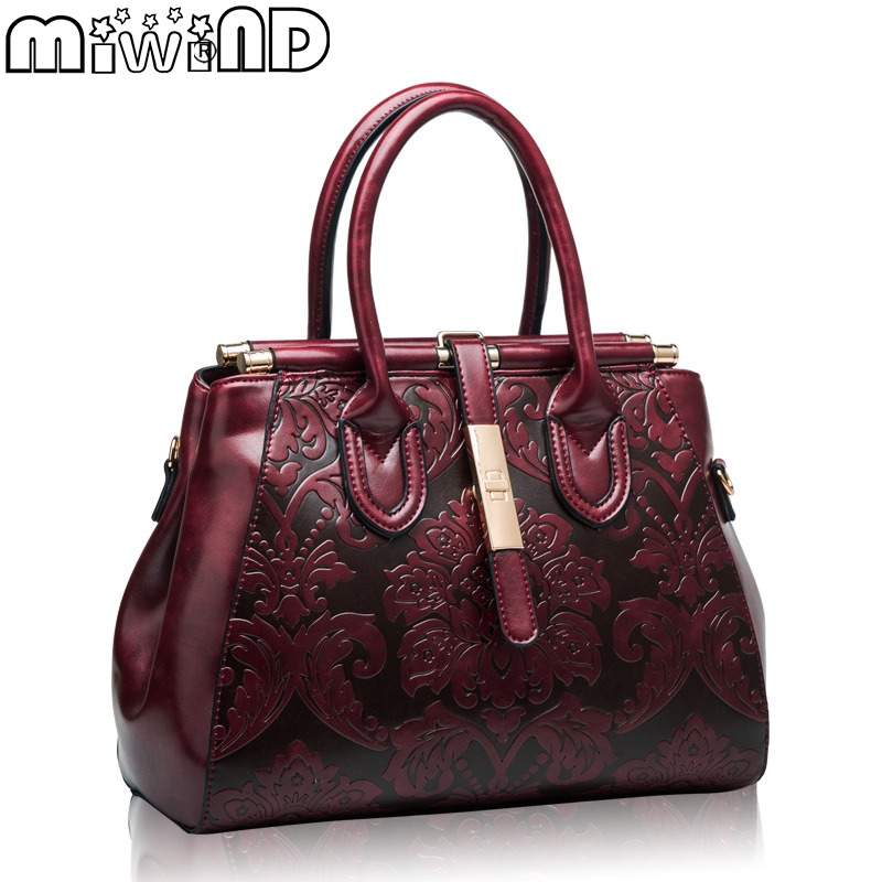 MIWIND 2017 New Fashion Women's Bags Ladies' Cow Split Leather Handbags Cowhide Totes Luxury Elegant National Shoulder Bag