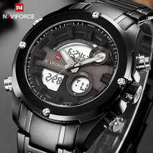 2017 New Fashion Luxury Brand NAVIFORCE Men Sports Watches Men's Quartz Analog Clock Male Military Waterproof Full Steel Watch