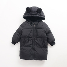 Winter children's clothing down jackets thick ski jacket boys and girls hooded children's down jacket in the long section