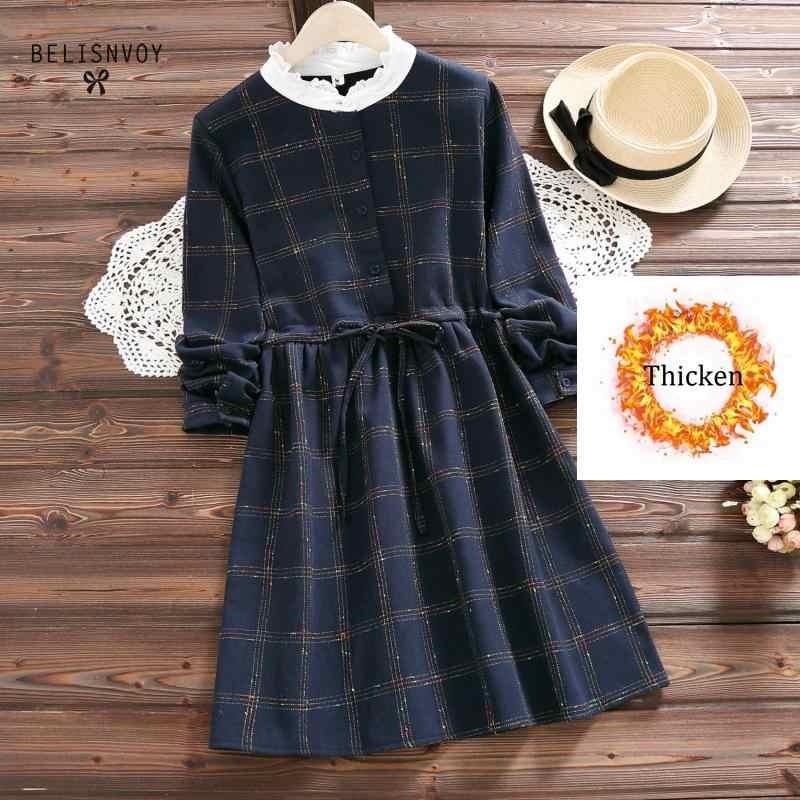 Плотное осенне-зимнее женское клетчатое бархатное платье с круглым вырезом повседневное с длинными рукавами объединённый пояс пуговицы хлопок ретро платье Vestidos