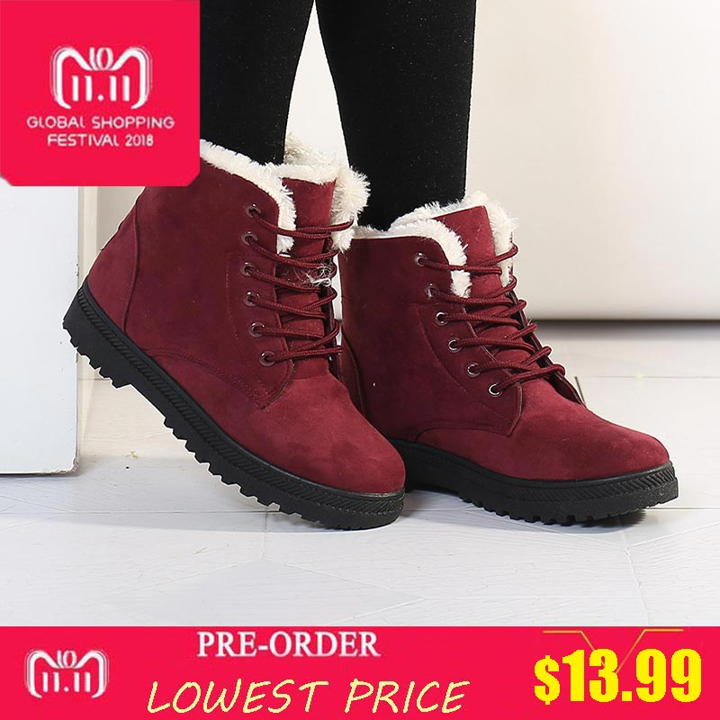 Women Boots 2018 New Women Shoes Winter Boots Women Warm Snow Boots plush Fur Lace up winter Ankle Boots For Women plus size fast delivery snow boots 2018 fashion warm heels ankle boots women winter shoes lace up plus size 35 44 for female