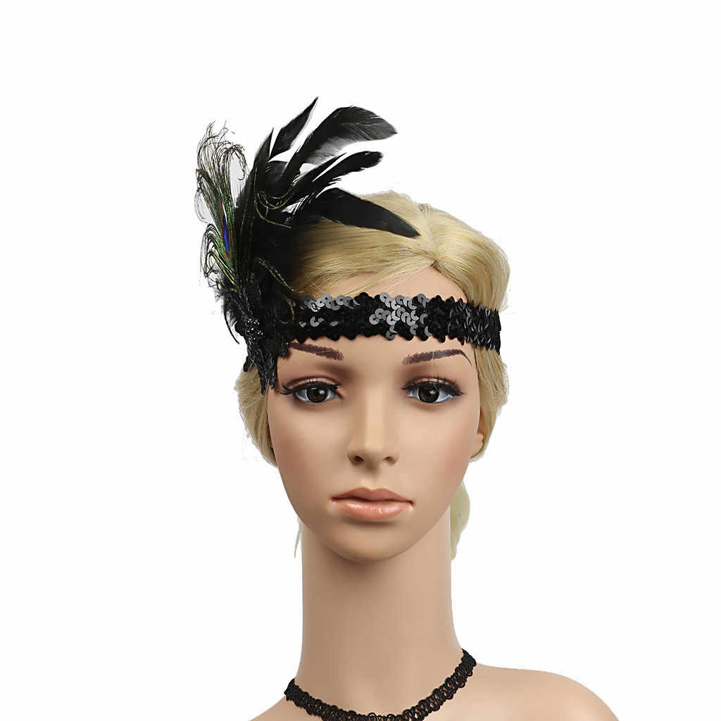 cd4b77d6f4b52 ... 2019 new fashion Flapper Feather Headband 20s Accessories Crystal  Beaded Wedding Headpiece Girl Peacock Feather Headband ...