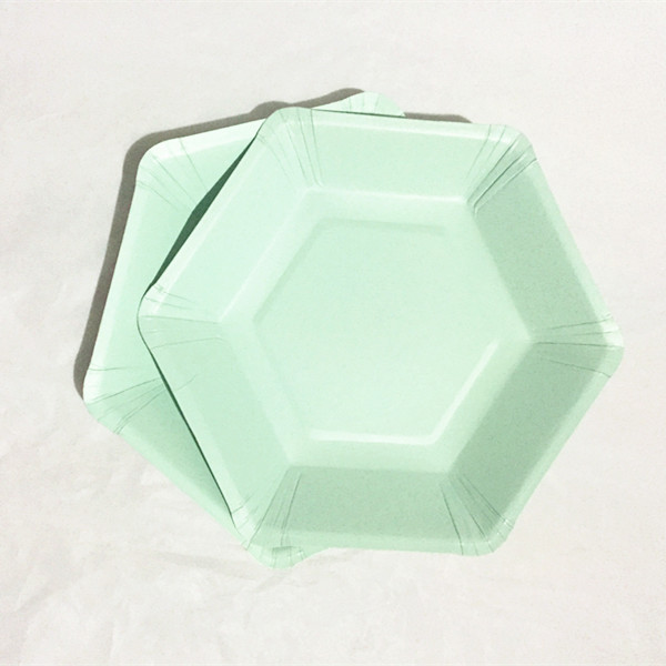 Free Ship 72pcs Pastel Mint Paper Plates Afternoon Tea Party 18cm Small Hexagon Dish First Birthday Baby Shower Wedding Decor in Disposable Party Tableware from Home Garden