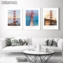 Nordic Landscape Tower Bridge Canvas Poster Minimalist Style Wall Art Print Painting Decoration Picture