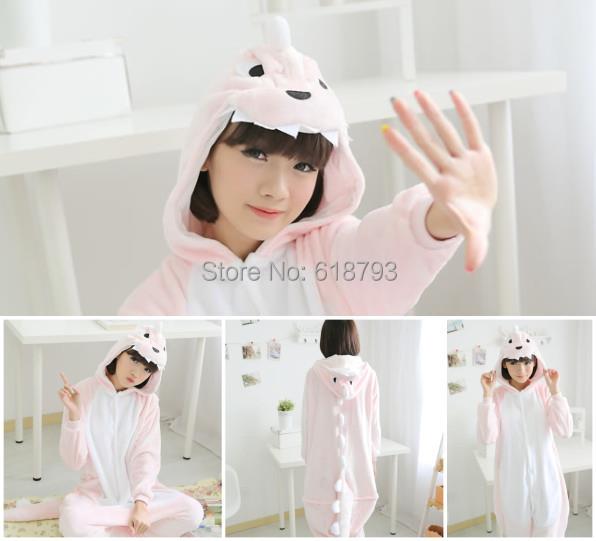 2014 adorável inverno pijamas animal lar roupa pijama de dinossauro rosa quente trajes cosplay unissex