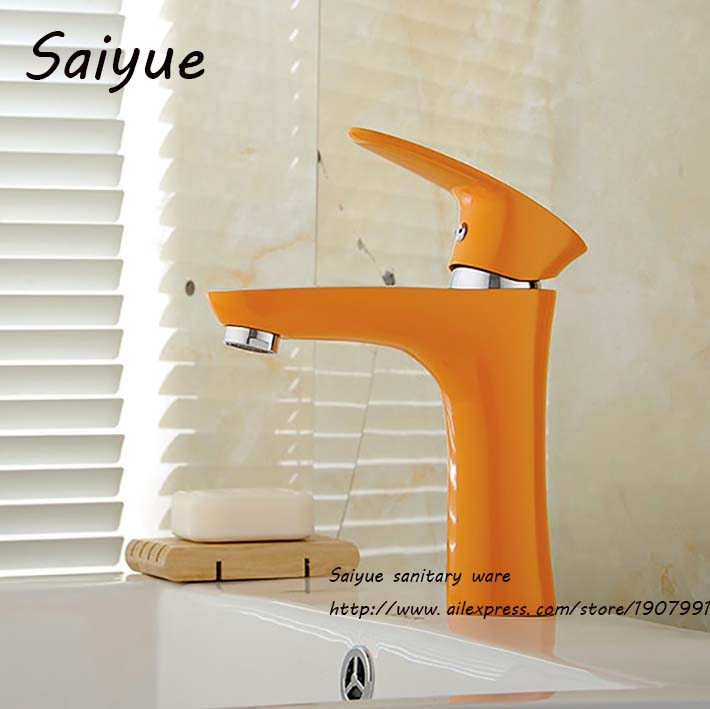 Orange Simple Painting Single Handle Faucet Hot & Cold Mixer ...