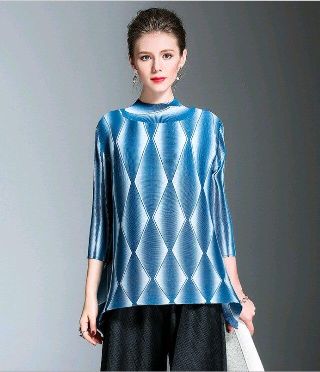Plis Miyake Col Gratuite Bleu Imprime T Vente marine Bleu Livraison Trimestre Roulé Manches shirt Chaude Vintage w0faqwUnI