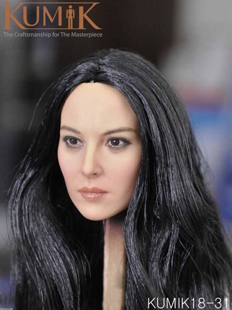1/6 Scale Female Head Sculpt Action Figures Accessory Black Hair Head Carving Model Toys for 12 Woman Figure Body