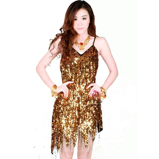 a8bd6d4565 Sequins Tassel Latin Dance Dress Gold Black Purple Salsa Dresses Free  Shipping Dance Skirt Womens Latin Dancewear
