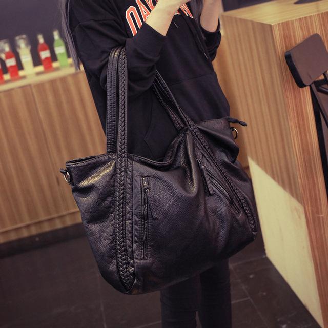 Soft Leather Handbags Big Women Bag Zipper Ladies Shoulder Bag Girl Hobos Bags New Arrivals bolsa feminina 2017 Fashion Tote