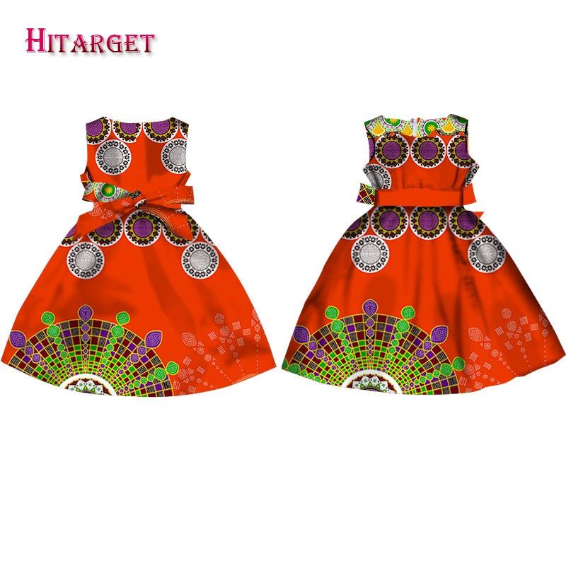 Fashion Girls African Dresses Vestidos Kanga Clothing Dashiki African Wax Print Sleeveless A-line Java Dresses Clothes WYT57