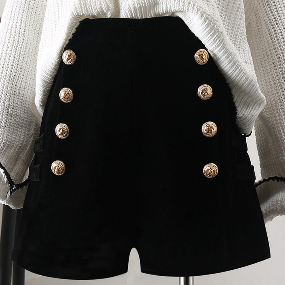 Autumn Winter New High Waist Velvet   Shorts   Women Wide leg Slim Double Breasted Casual   Shorts