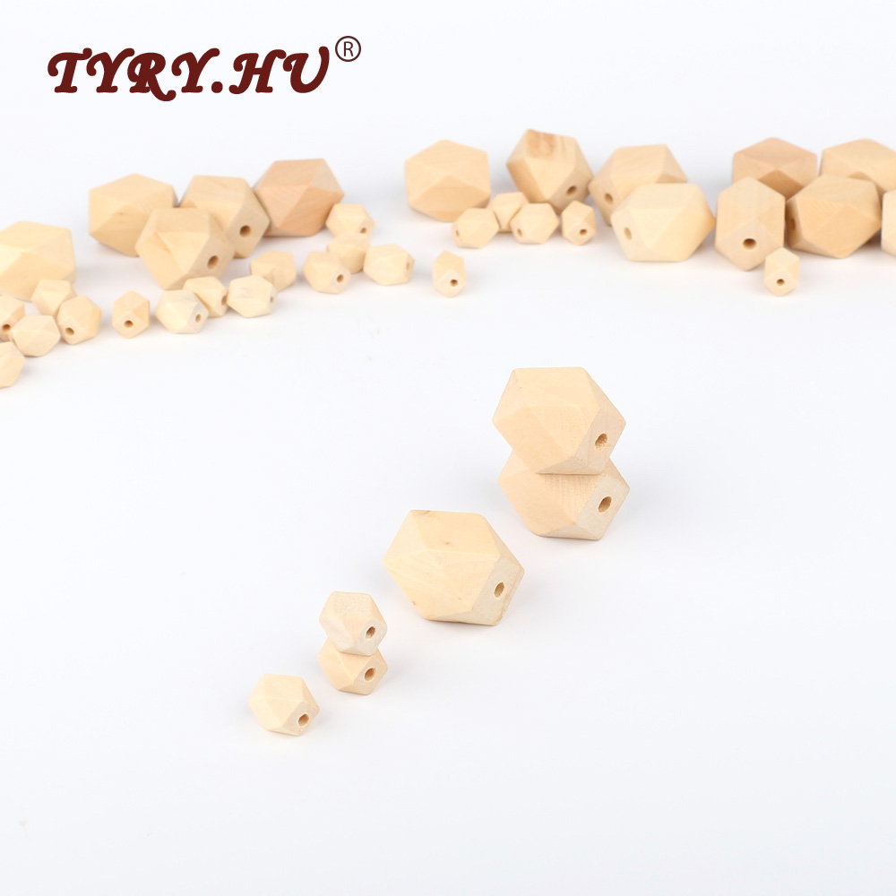TYRY.HU 50Pcs Natural Long Hexagon Wooden Beads 13&27mm For Baby DIY Jewelry Making Baby Woonden Teether Non-Toxic Can be Chewed