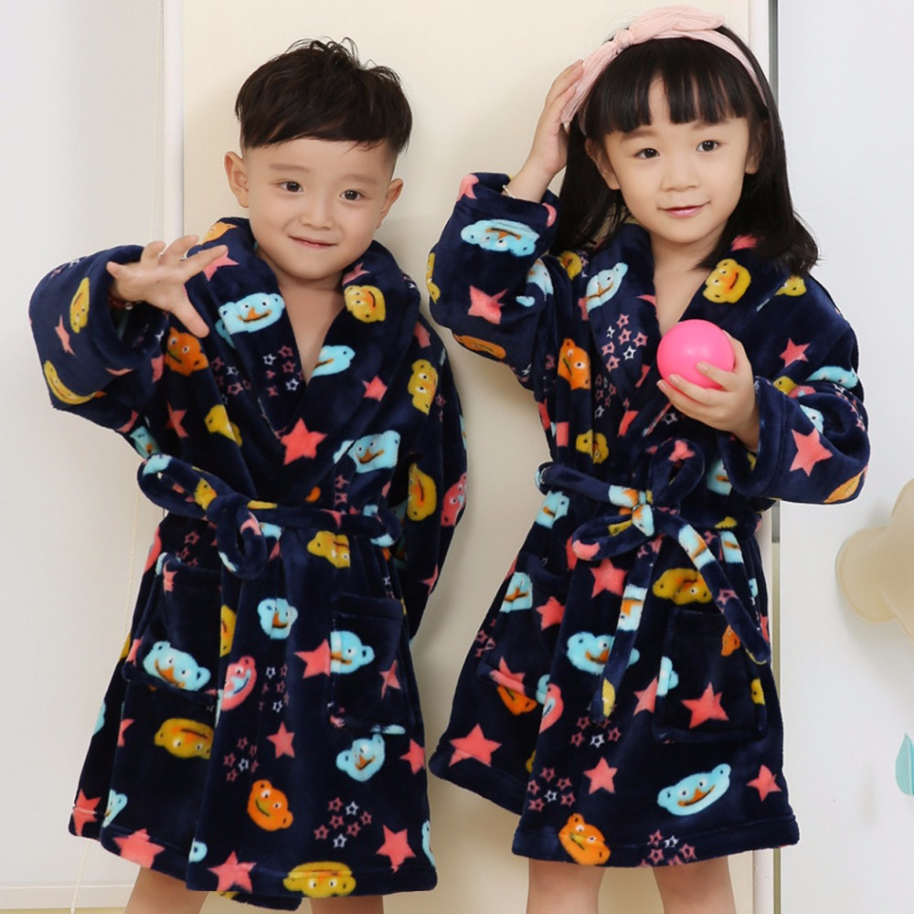 HotNew brand 2016 girls coral cashmere children's bathrobes with hood kids flannel Sleepwear teenager robes bathrobe kids 4-10Y