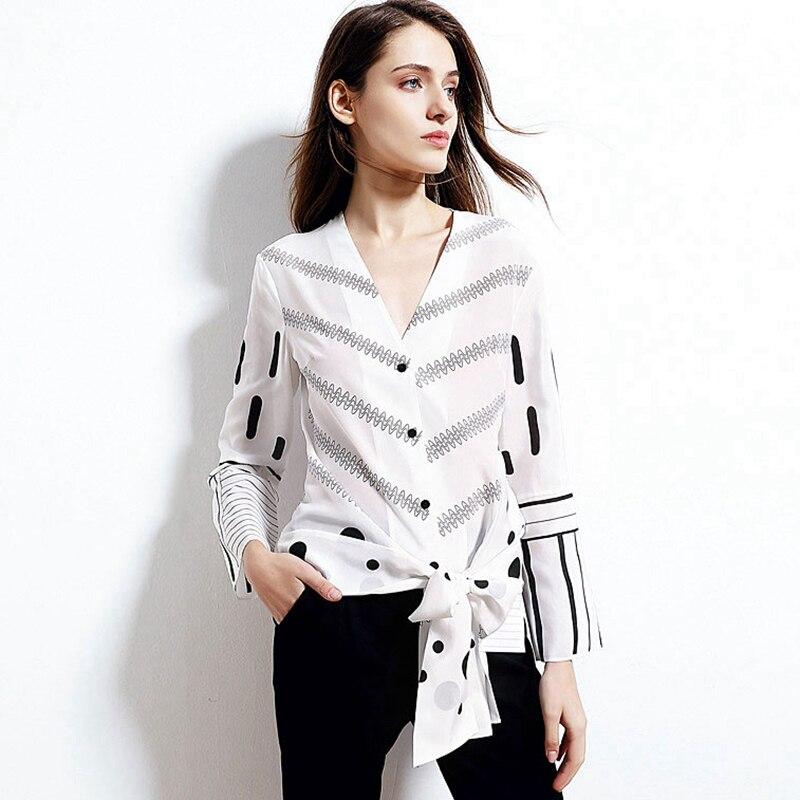100% soie Blouse femmes chemise col en V arc décoration imprimé épissé manches longues Flare Top Style décontracté nouvelle mode 2019