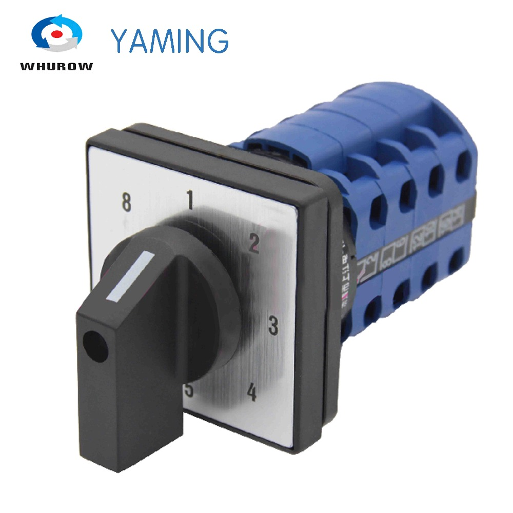 Yaming electric LW39B-16/4 changeover rotary cam switch 660V 16A 4 poles 8 position 16 terminals control motor LW26 ith 20a 8 screw terminals rotary combination cam switch