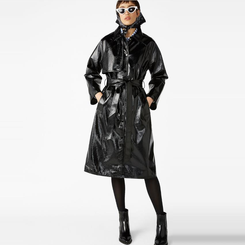 Fashion brand Glossy patent   leather   jackets pu   leather   jacket female street style was thin long   leather   jacket wq562 dropship