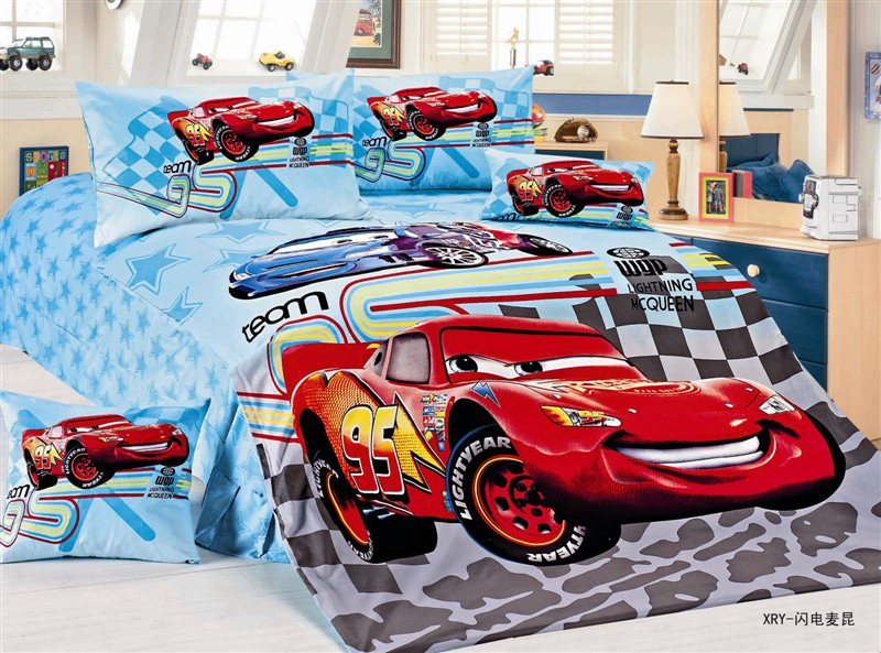 Cartoon Mcqueen Cars Bedding Single Twin Size Bed Duvet