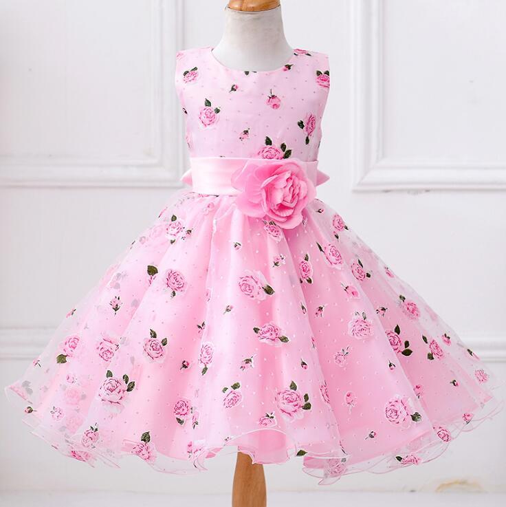 Kids Frocks Girls Flowes Dress Formal Floral Print Party