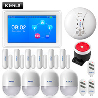 KERUI K7 WI FI GSM Смарт охранной сигнализации дома Системы 7 дюймов TFT Дисплей с дверной магнит движения и дымовой датчик сирена