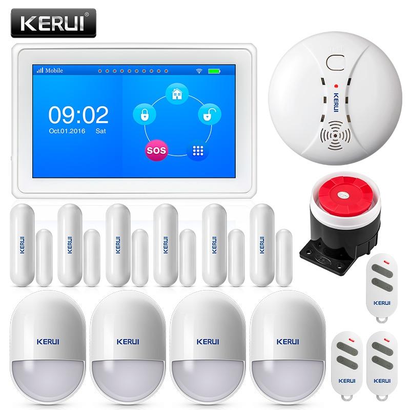KERUI K7 WIFI GSM Intelligente Sistema di Allarme Antifurto Casa 7 Pollici TFT Display con Porta magnete di Movimento e Sensore di Fumo rivelatore di sirena