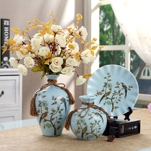 3pcs/Set Europe ceramic vase curio shelves vases for flowers wedding Gifts Home decoration flower with jarrones decorativos