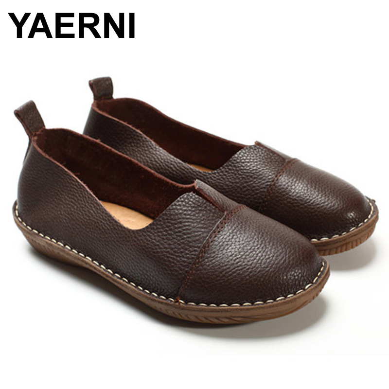 YAERNI  Women's Shoes Genuine Leather Slip on Loafers Round toe Coffee White Women's Shoes Flats Spring Autumn Footwear mikasa vxs bm beach maniac
