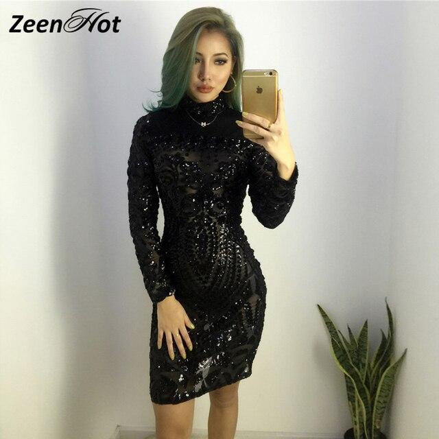 Осень-зима элегантное платье с блестками женский, черный облегающее платье с длинным рукавом Леди Вечеринка мини-платье с блестками Vestidos