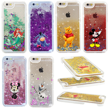 For iphone 7 Case NEW Beautiful Cute Mickey & Minnie Sparkle Glitter Liquid Stars Hard Phone Bag Case