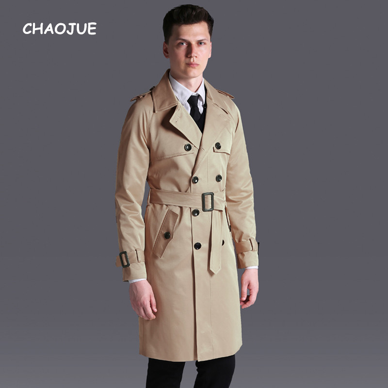 CHAOJUE Double Breasted   Trench   Long 2018 Spring/Fall New Loose British Coat Mens 6XL High Quality Knit Trenchs Free Shipping