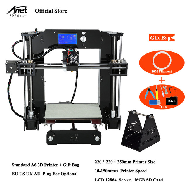 Easy Assemble Anet A6 Anet A8 3D Printer Kits  i3 Kit DIY Kits 3D Printing Machine with SD Card+Filament+Tools