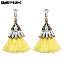 b9c650ee0ae9 XIAOJINGLING Venta caliente Retro cristal borla pendientes para las mujeres  Bohemia amarillo colgante Dangle pendientes mujer mo.