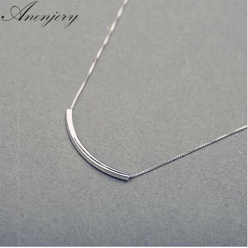 Anenjery Simple Fashion 925 Sterling Silver Necklace For Women Stereo Pipe Necklace Box Chain Choker S-N193