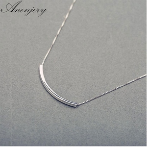 Anenjery Simple Fashion Silver Color Necklace For Women Stereo Pipe Necklace Box Chain Choker S-N193