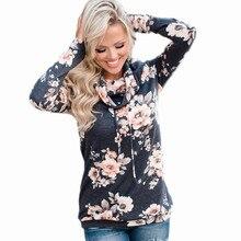 S-XL autumn winter turtleneck long sleeve t shirt floral print casual leisure t shirt women tops t-shirt blouse tops