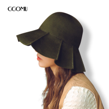 GGOMU High quality Elegant wool fedora hat for women Winter Autumn Retro style wide brim Trilby hats ZLH-223(China)