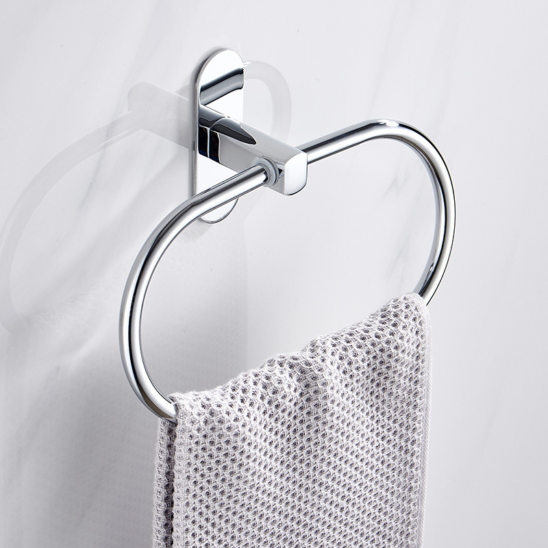 Punch-free Towel Ring Holder Hanger Stainless Steel Wall Mounted Hanging Rack Bathroom Hardware