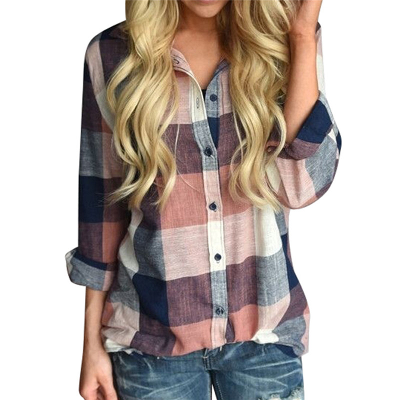 2018 New Brand Women Blouses Matching Color Long Sleeve Shirts Cotton Plaid Shirt Casual Female Plus Size Loose Blouse Tops #40A