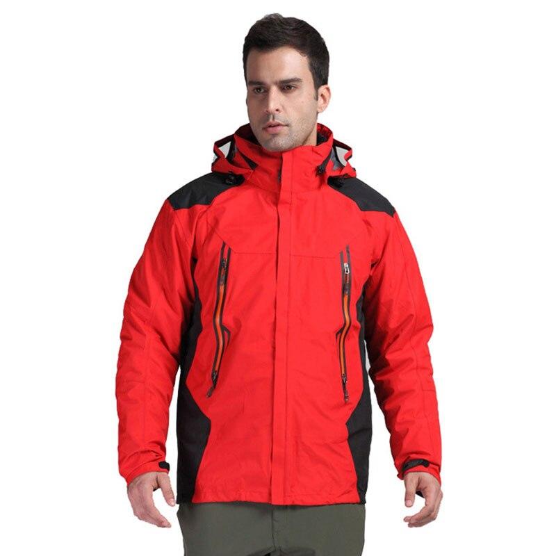 ФОТО Man Outdoor Sports Duck Down 3 in 1 Jacket Mens Camping Hiking Climbing Coat Detachable Lining Thermal Waterproof Windbreaker