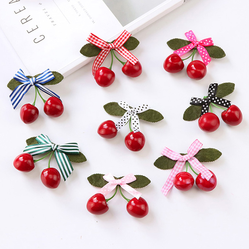 New Girls Cute Cherry Bow Hairpins Princess Barrettes   Headwear   Hair Holder Children Hari Clips Headbands Kids Hair Accessories