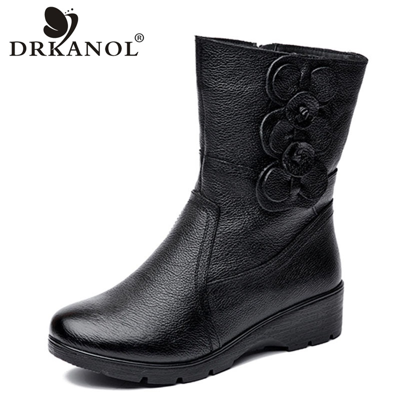 DRKANOL Fashion Women Snow Boots Winter Thick Plush Warm Wedge Mid Calf Boots Side Zipper Sweet Flowers Winter Mother Boots