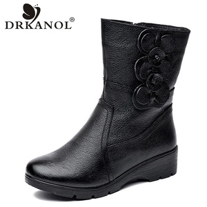 Image 1 - DRKANOL Fashion Women Snow Boots Winter Thick Plush Warm Wedge Mid Calf Boots Side Zipper Sweet Flowers Winter Mother Boots