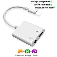 Adapter Audio do iphone X XS Max XR 8 7 7 Plus 3.5mm słuchawki Adapter kabel splittera ładowania i muzyka i rozmowy telefonicznej oryginalny układ
