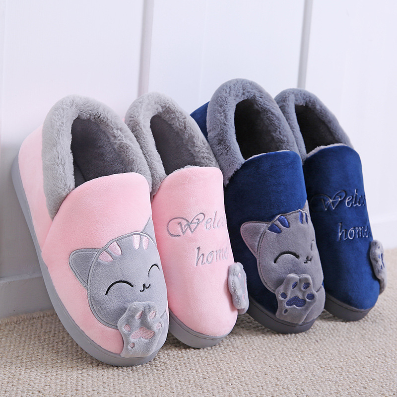 Home Slippers Women Cartoon Cat Home Shoes Non-slip Soft Winter Warm Slippers Indoor Bedroom Loves Couples Shoes Plus Size