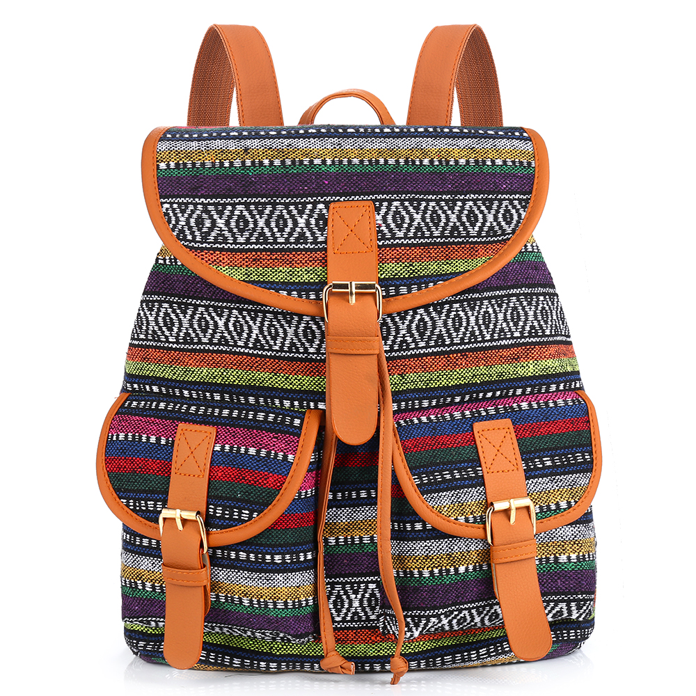 Sansarya Vintage Bohemian Thai Woven Boho Backpack School Bag Aztec Bagpack Rucksack Casual Daypack Tribal Drawstring Bag