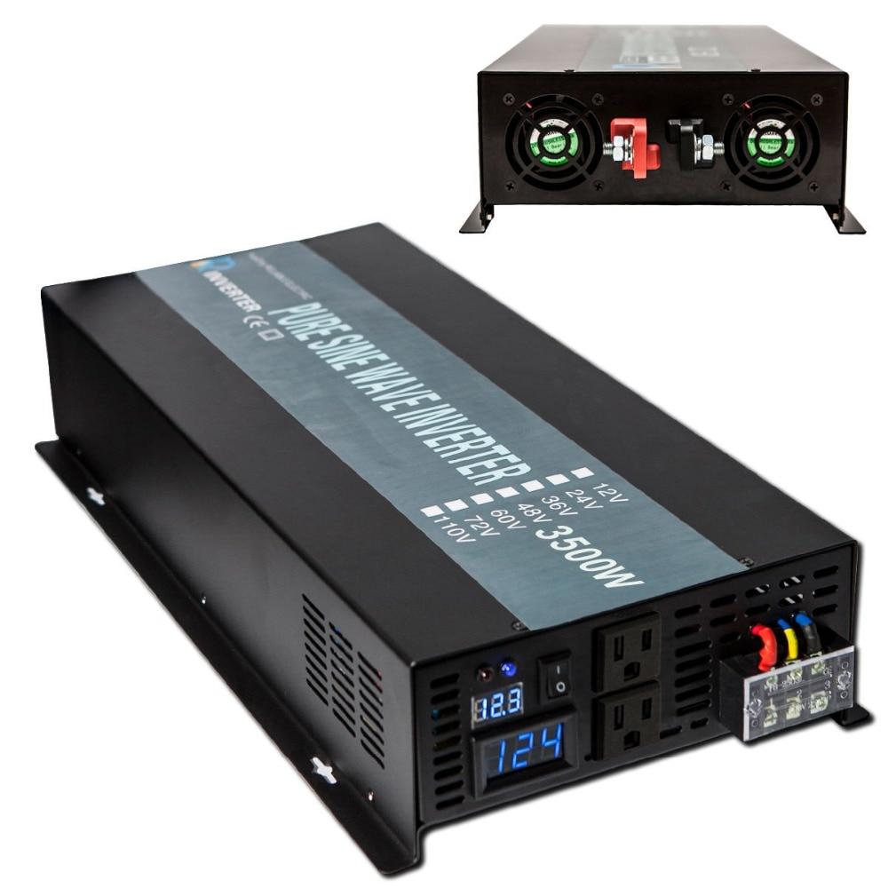 Pure Sine Wave Solar Inverter 12V 120V 3500W Power Inverter Voltage Regulator 12V/24V/48V DC to 120V/220V/240V AC Power Supply