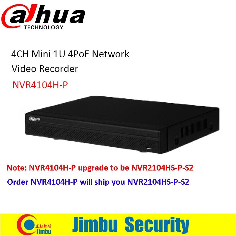 Original Dahua NVR NVR4104H-P 4 Ch Smart Mini 1U 4 PoE Ports HDMI Network Video Recorder 1 VGA/1 HDMI HD NVR 16ch poe nvr 1080p 1 5u onvif poe network 16poe port recording hdmi vga p2p pc