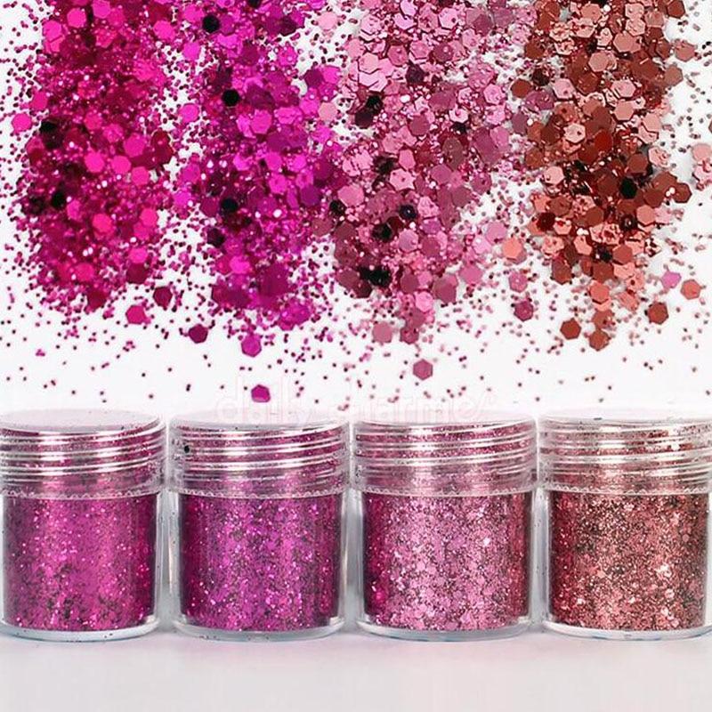 Image 5 - Holographic Effect Nail Glitter SET For UV Gel Polish 10ml/Jar Fine Glitter Sparkles Acrylic Nailart Glitter  Manicure Dust 4jar-in Nail Glitter from Beauty & Health